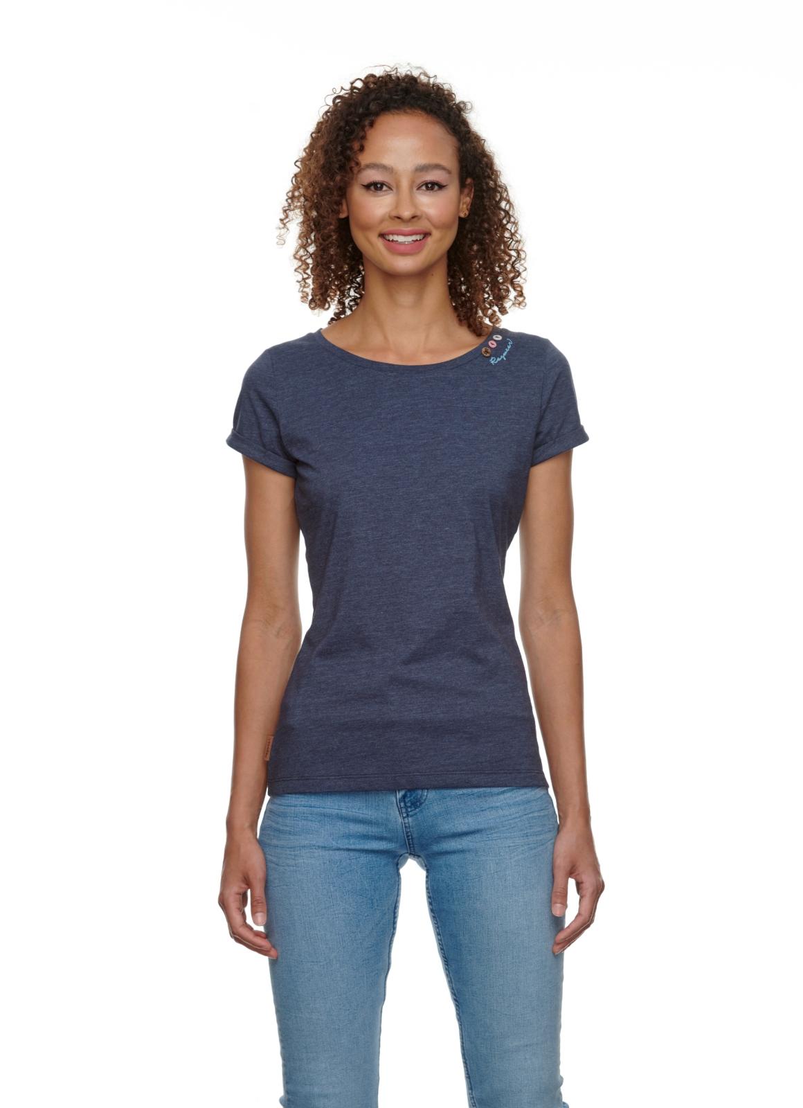 Ragwear Damen T-Shirt Florah a Organic blau unifarben 2111 10049 2028 navy