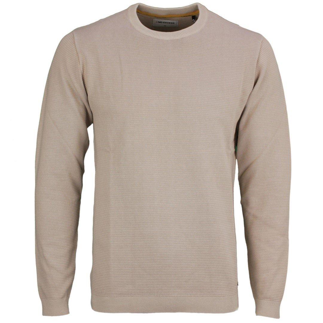 No Excess Herren Strick Pullover beige strukturiert 11230102 011 white