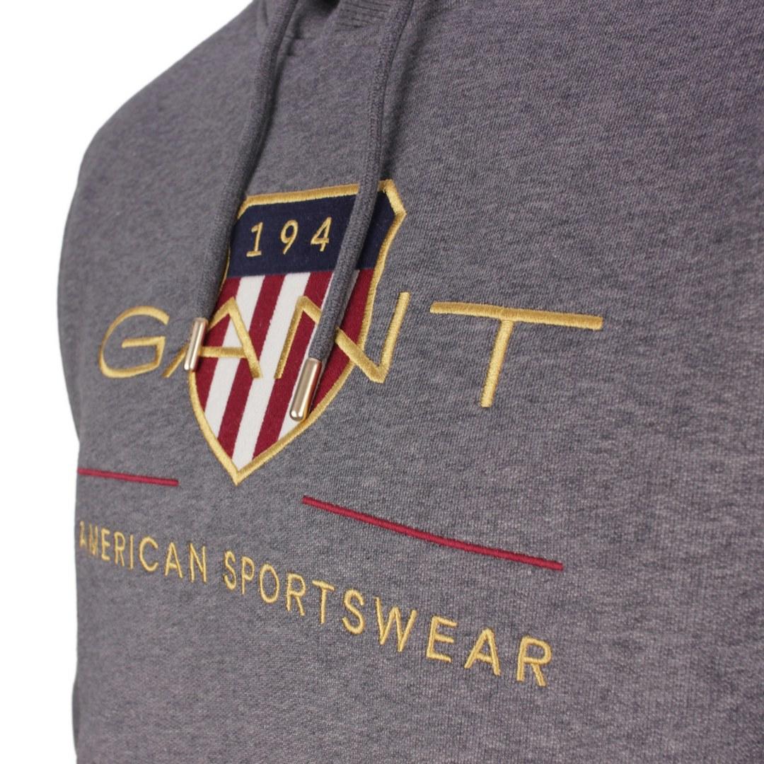 Gant Archive Shield Hoodie Kapuzen Sweat Pullover 2047056 95 Antracite Melange