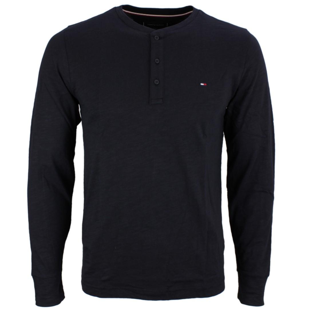 Tommy Hilfiger Herren Henley langarm Shirt dunkel blau unifarben MW0MW15345 DW5