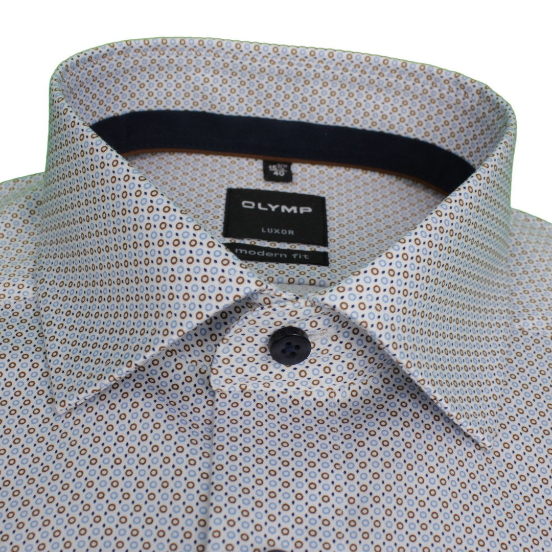 Olymp Herren Luxor Modern Fit Hemd weiß Kreise gemustert 132864 27