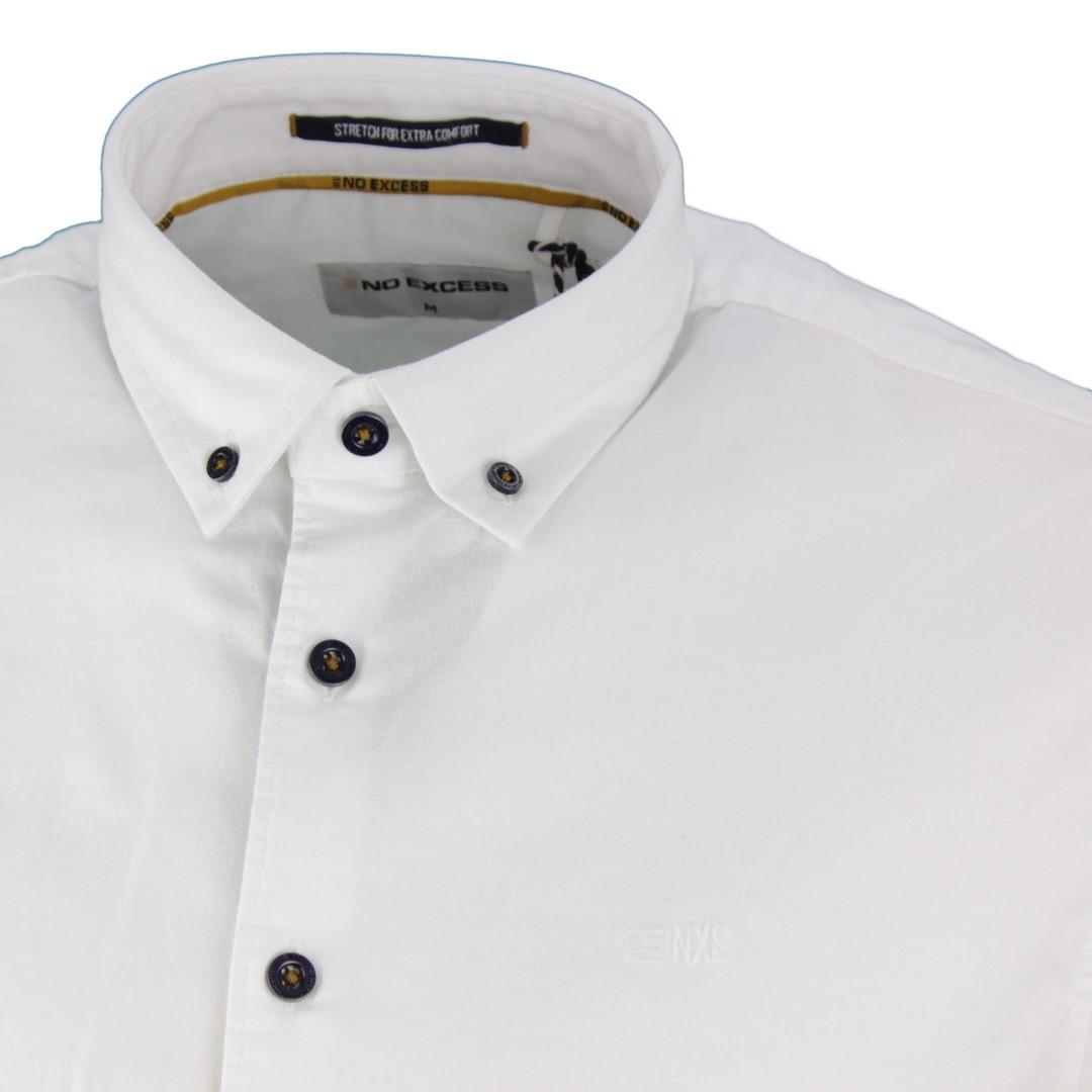No Excess Herren Freizeit Hemd weiß strukturiert unifarben 97450867S 010 white