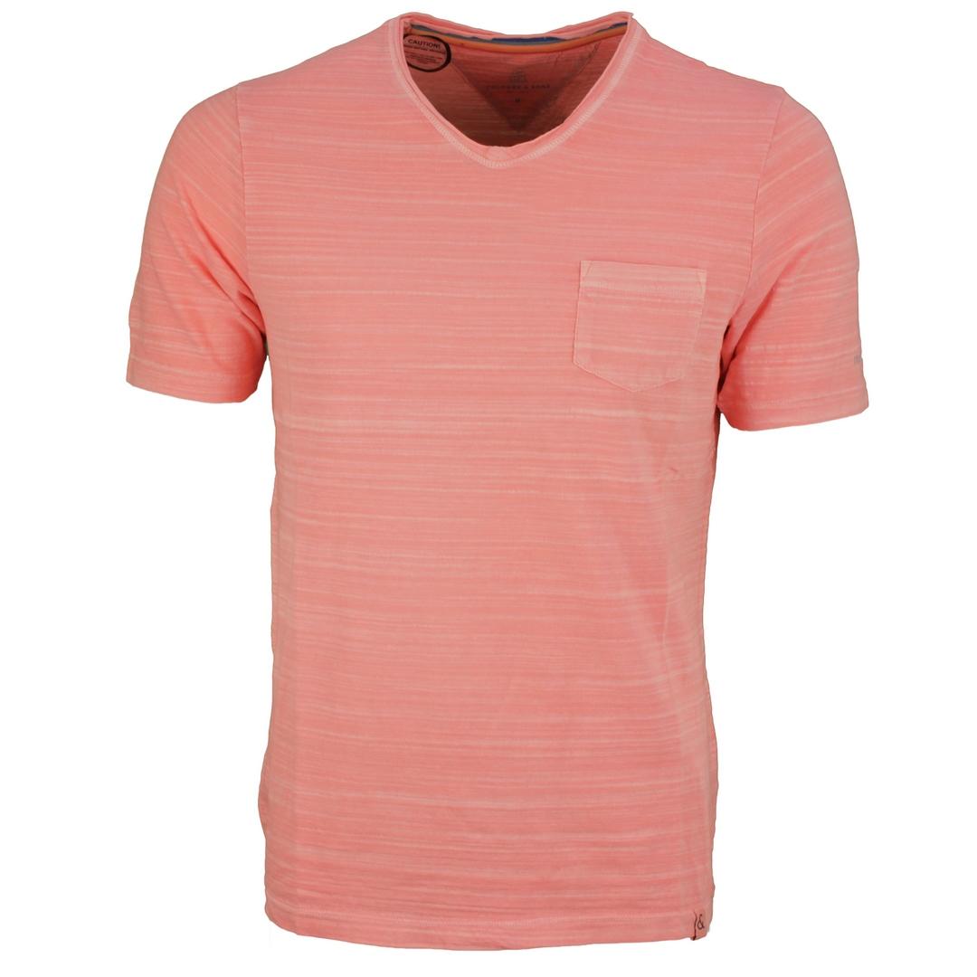 Colours & Sons Herren T-Shirt Shirt kurzarm rot meliert unifarben 9121 400 275