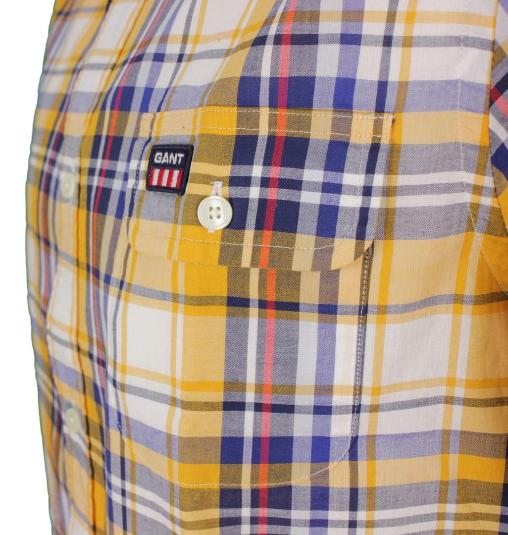 Gant Herren Freizeithemd Langarm mehrfarbig kariert 3037430 711 medaillon yellow