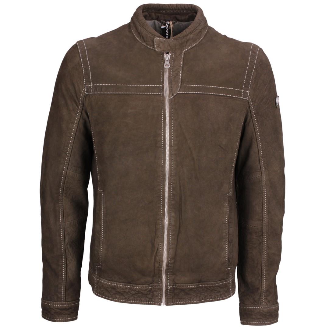 Gipsy Herren Lederjacke Leder Biker Jacke Olive grün GBRyker SF LNUV olive