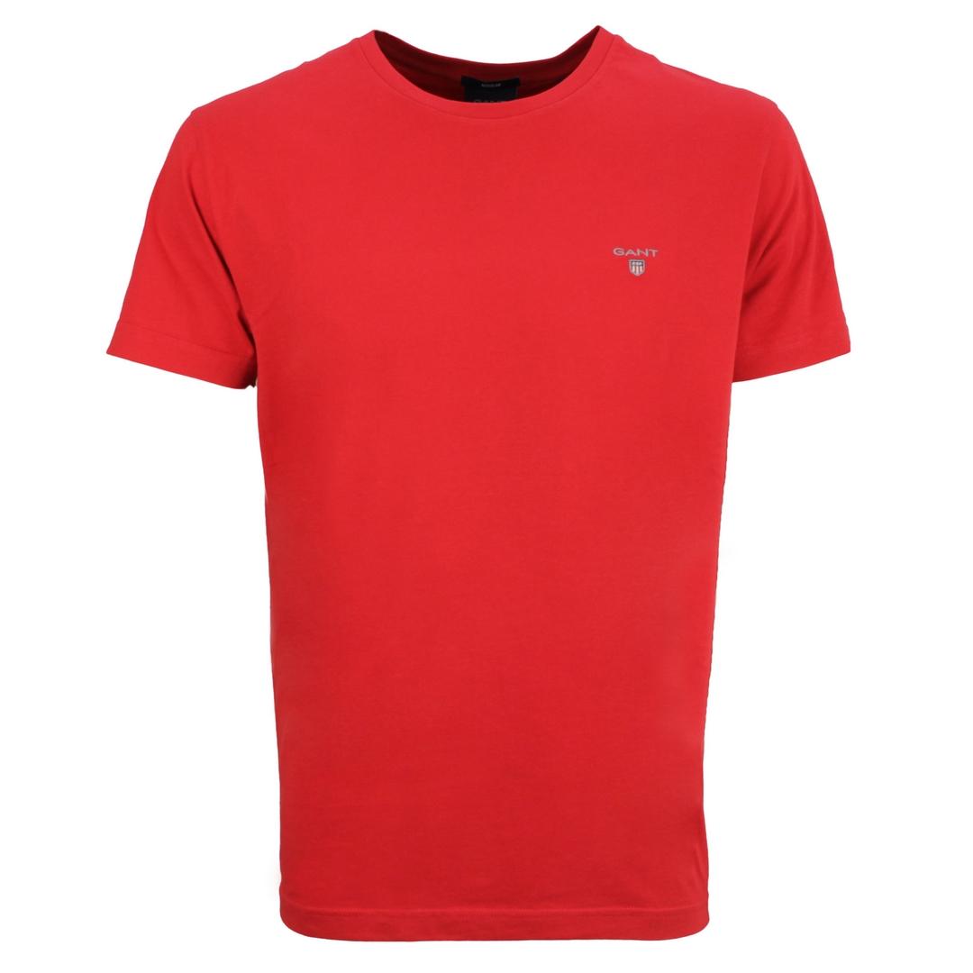 Gant Herren T-Shirt Shirt kurzarm Basic rot unifarben 234100 620