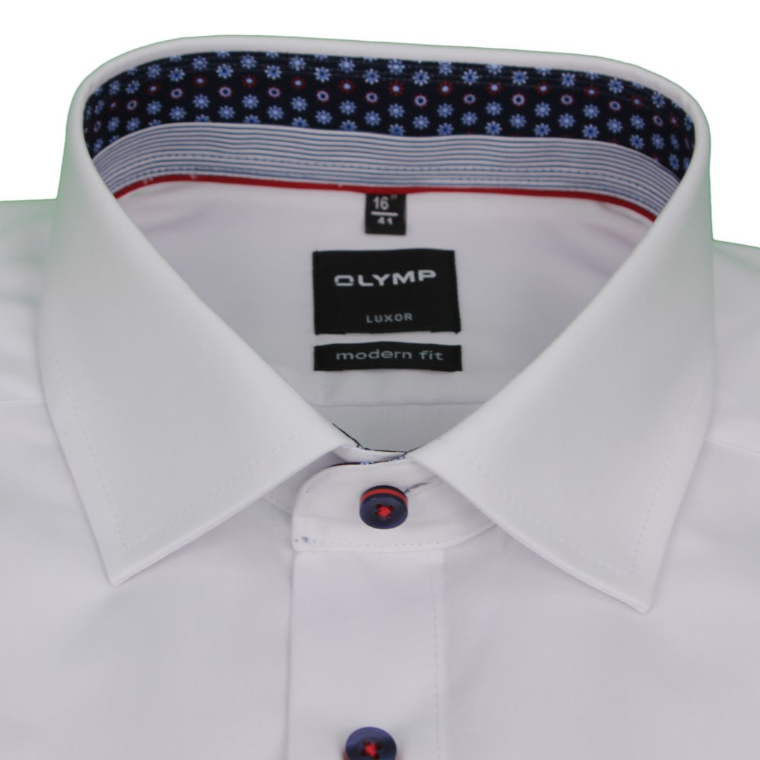 Olymp Modern Fit Kurzarm Hemd weiß unifarben 5882 05 00