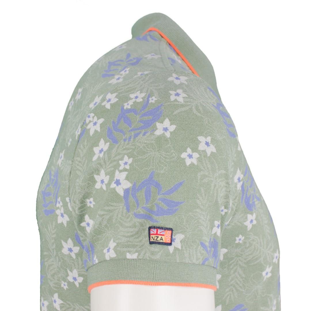 New Zealand Auckland NZA Polo Shirt grün Blumen Muster 20CN121 494 new army