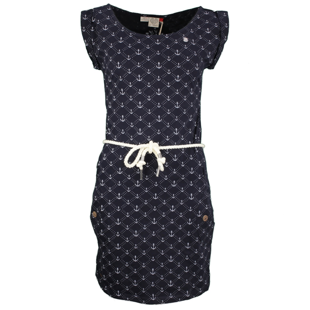 Ragwear Damen Kleid Tag Marina blau weiß Anker Muster 2111 20017 2028 navy