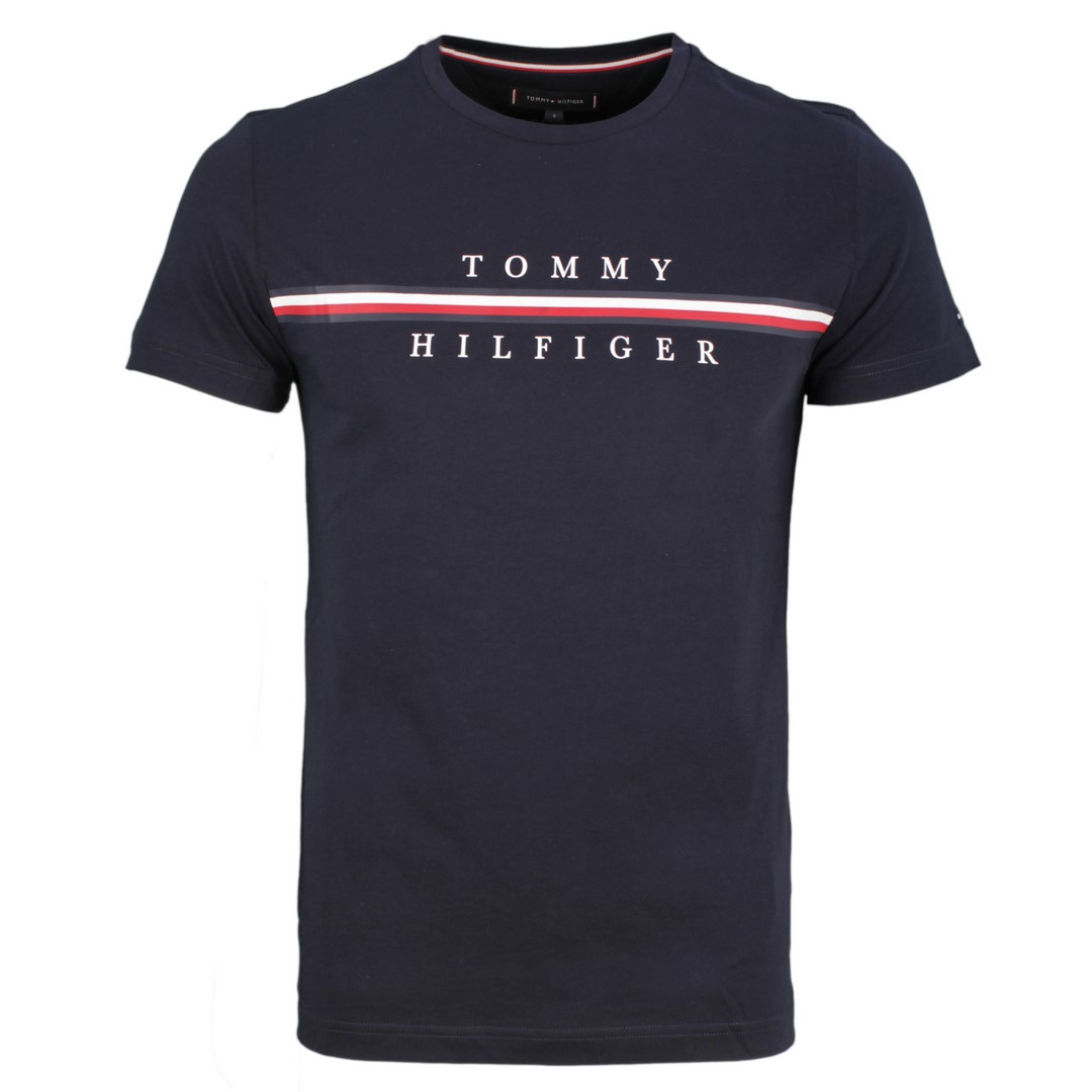 Tommy Hilfiger Herren T-Shirt Logo Druck blau MW0MW12520 DW5