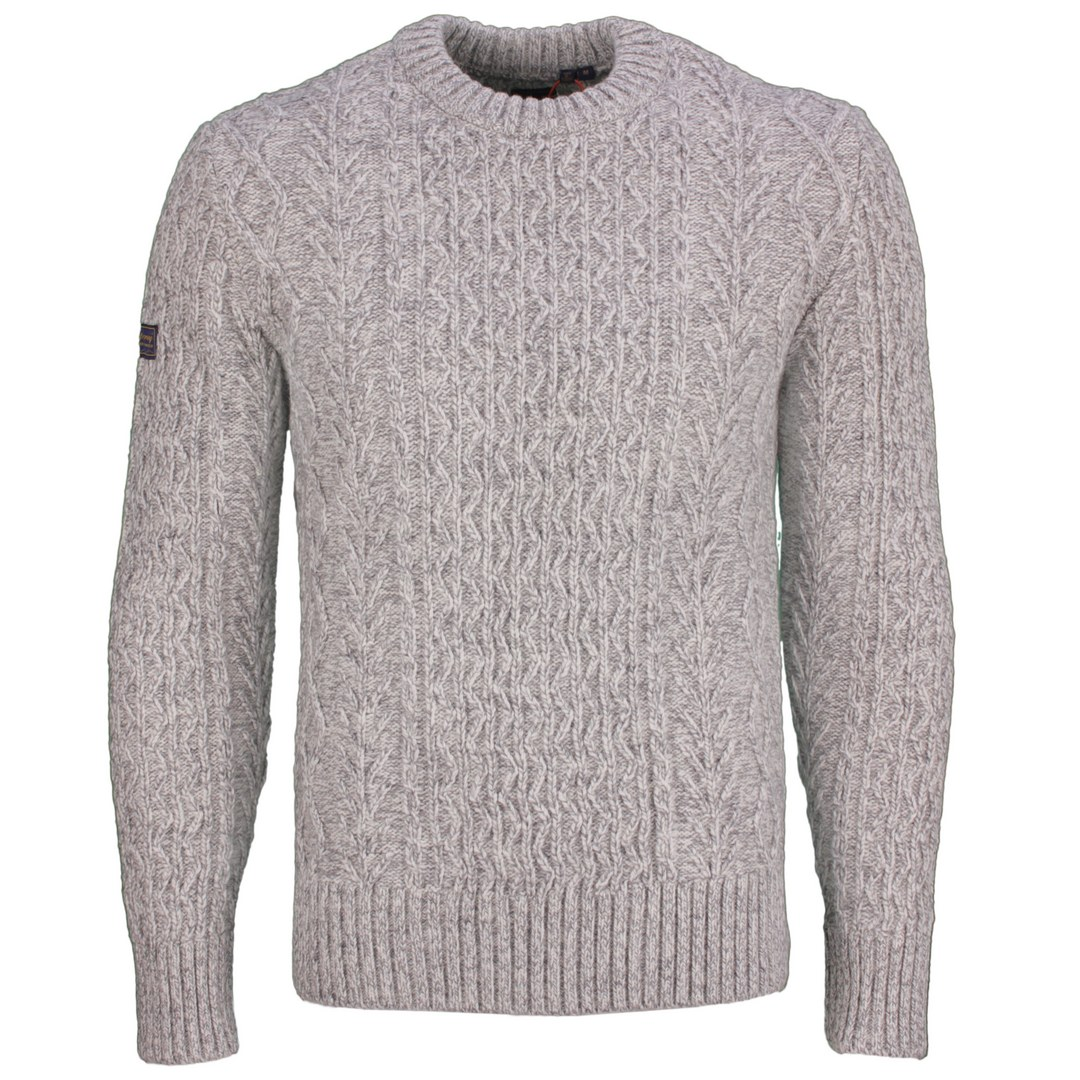 Superdry Strickpullover Pullover Zopfstrick Jacob Cable Crew M6110305A THU concrete