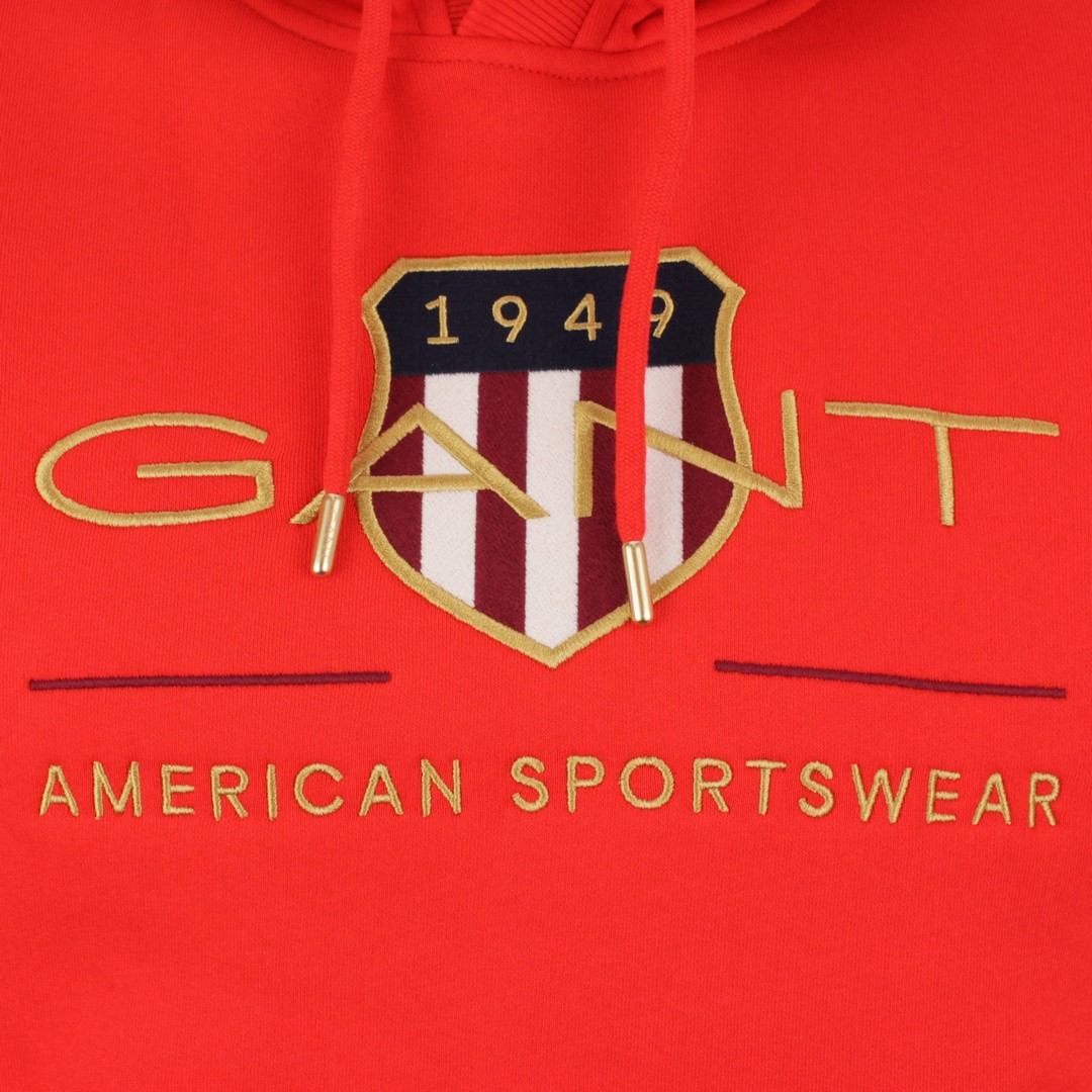 Gant Archive Shield Hoodie Kapuzen Sweat Pullover rot 2047056 667 Lava Red