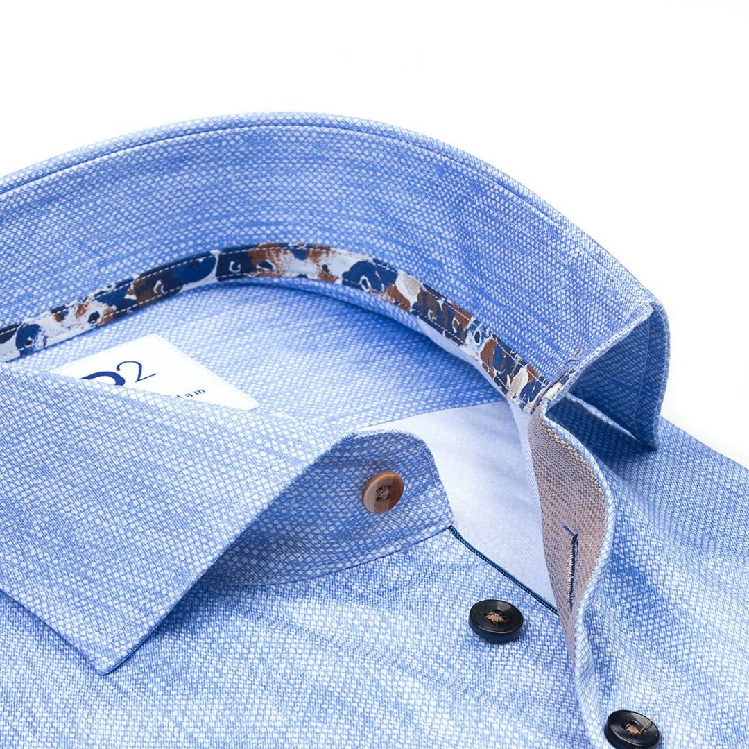 R2 Amsterdam Herren Hemd Widespread blau 112.WSP.052 018 blue melange