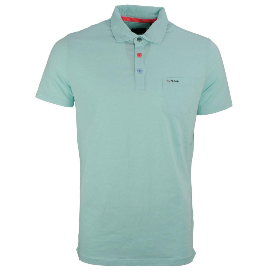 New Zealand Auckland NZA Polo Shirt grün unifarben 20DN151 254 ocean blue