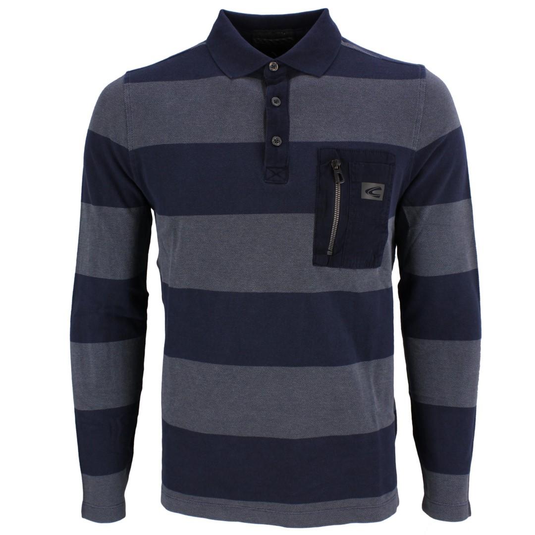 Camel active Herren langarm Shirt Langarmshirt Rugby blau gesteift 4P05 409308 44