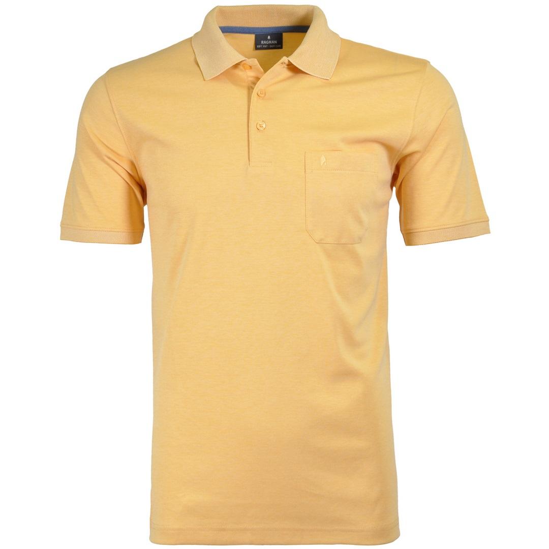 Ragman Herren Polo Shirt Poloshirt Softknit gelb unifarben 540391 056