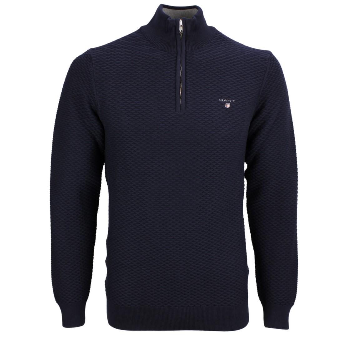 Gant Herren Strick Troyer Pullover Triangle halfzip blau 8030085 433 blue