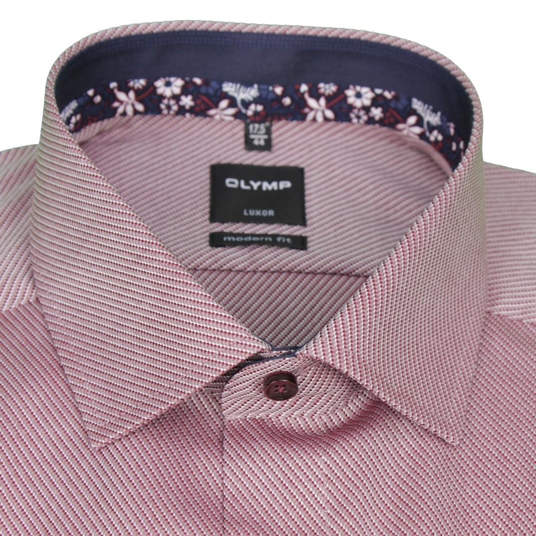 Olymp Modern Fit Hemd rot unifarben strukturiert 1225 44 39
