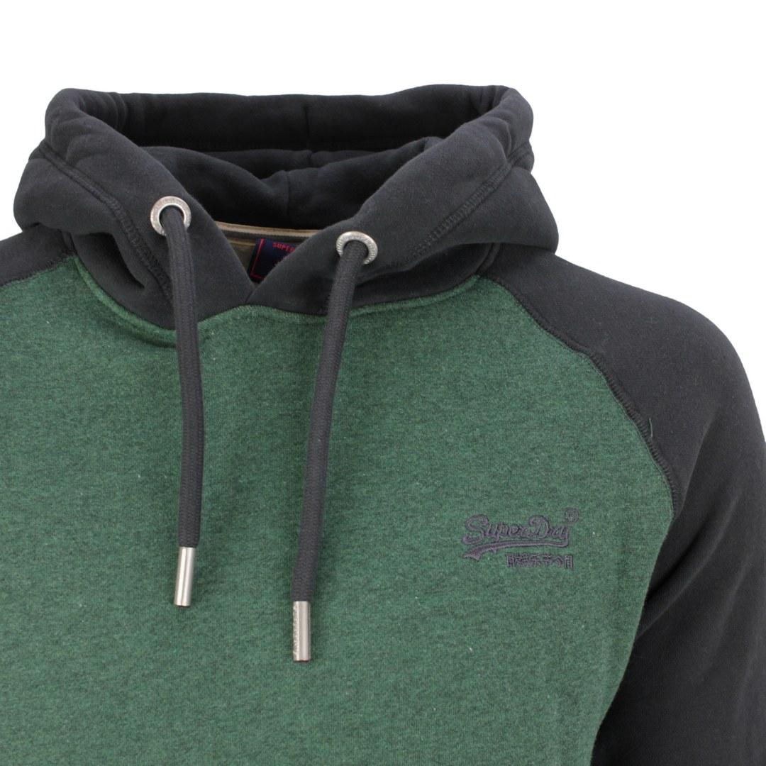 Superdry Sweat Pullover Hoodie M2011398A 6CX  Pine Marl wash black Vintage Logo EMB Baseball Hood