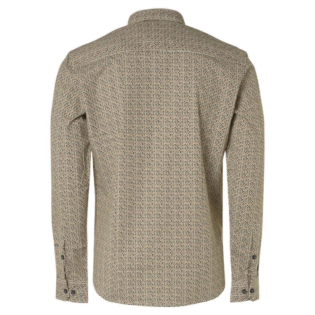 No Excess Herren Freizeithemd minimal Muster Shirt Stretch Allover Printed 12450801SN 011 offwhite