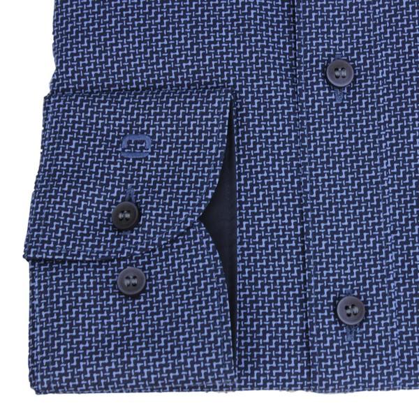 Olymp Body Fit Hemd Level 5 marine blau Minimal Muster 4037 64 15