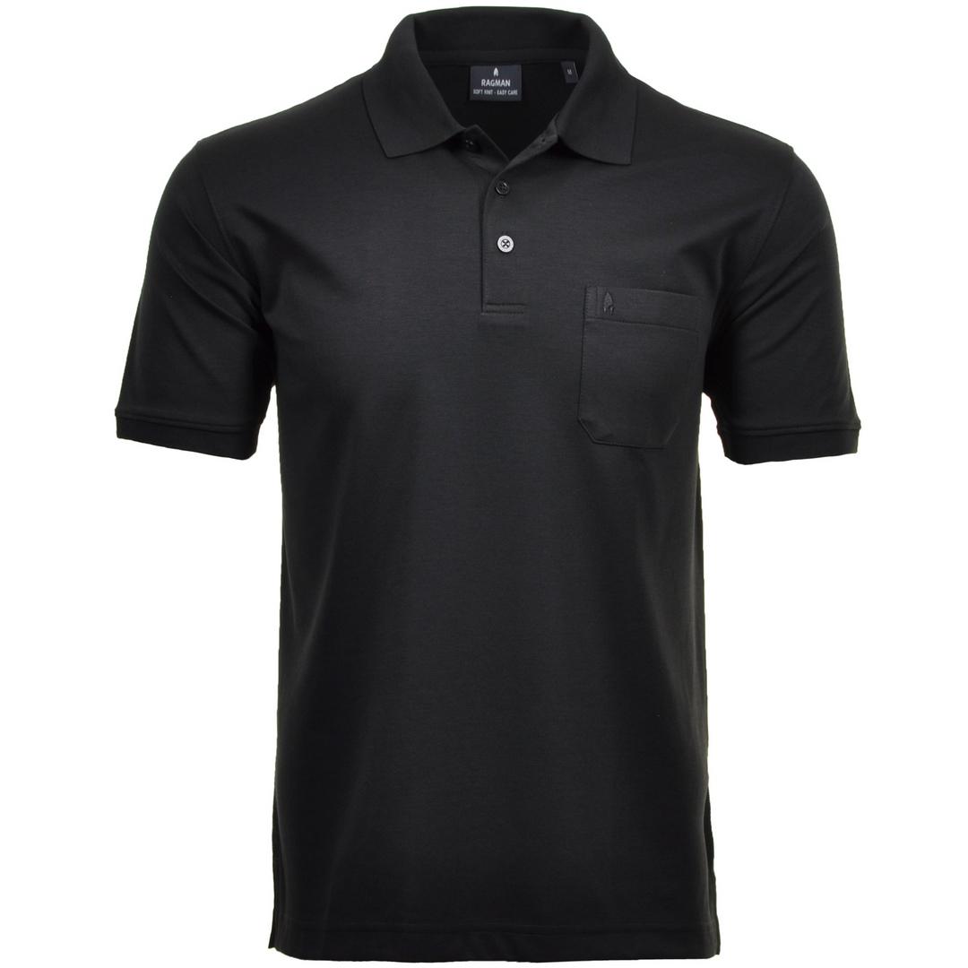 Ragman Herren Polo Shirt Poloshirt Softknit schwarz unifarben 540391 009