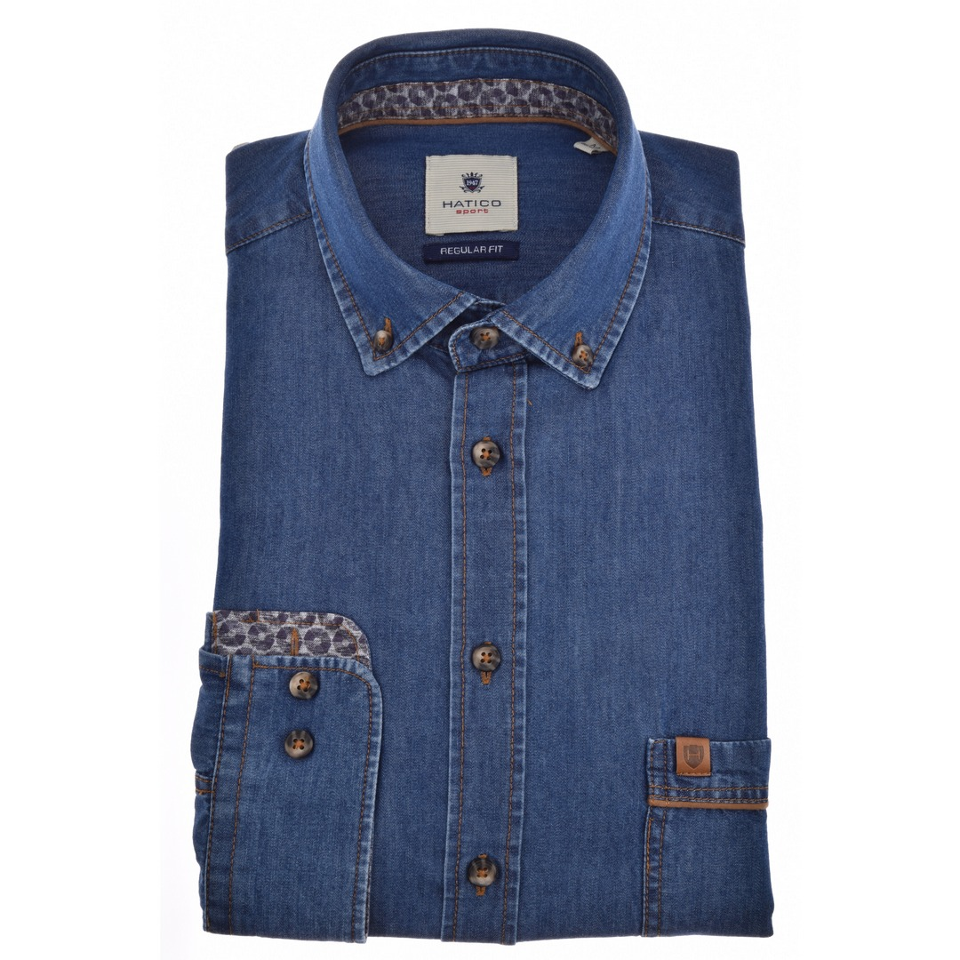 Hatico Herren Freizeithemd Langarm blau unifarben D30021 31207 130 marine