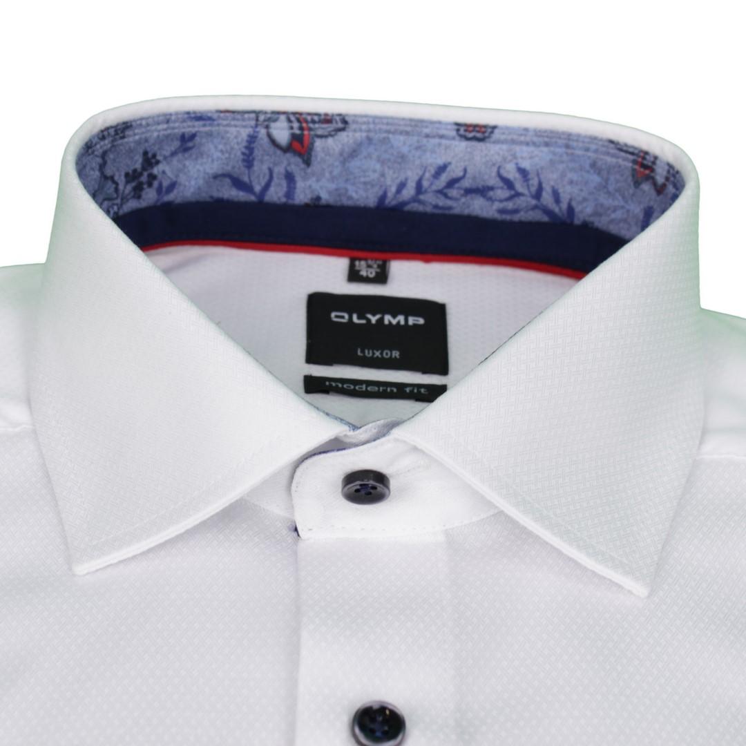 Olymp Herren Luxor Modern Fit Hemd weiß Strukturiert 1200 34 00