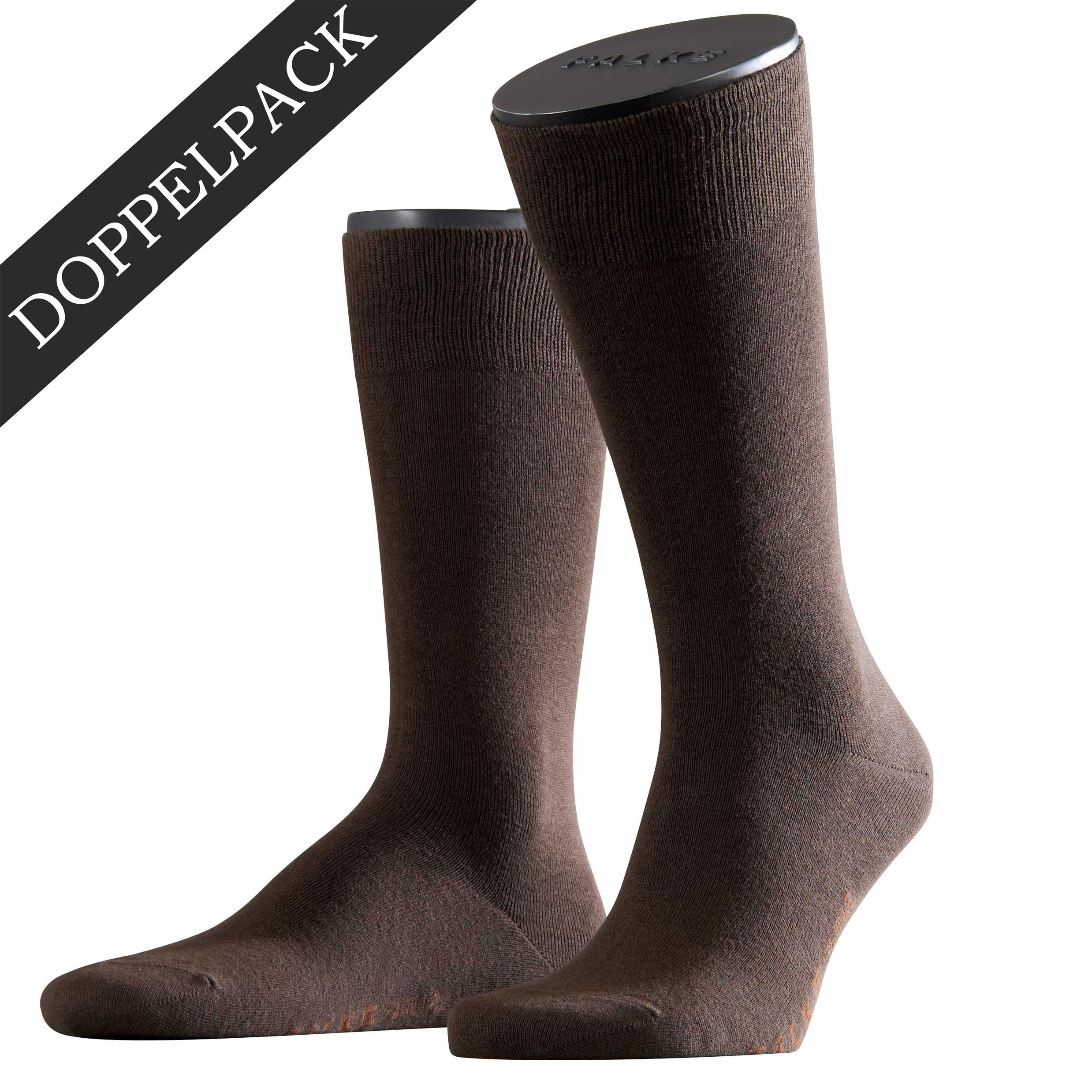 Falke Doppelpack Socke Swing braun 14633 - 5930 Basic Baumwolle