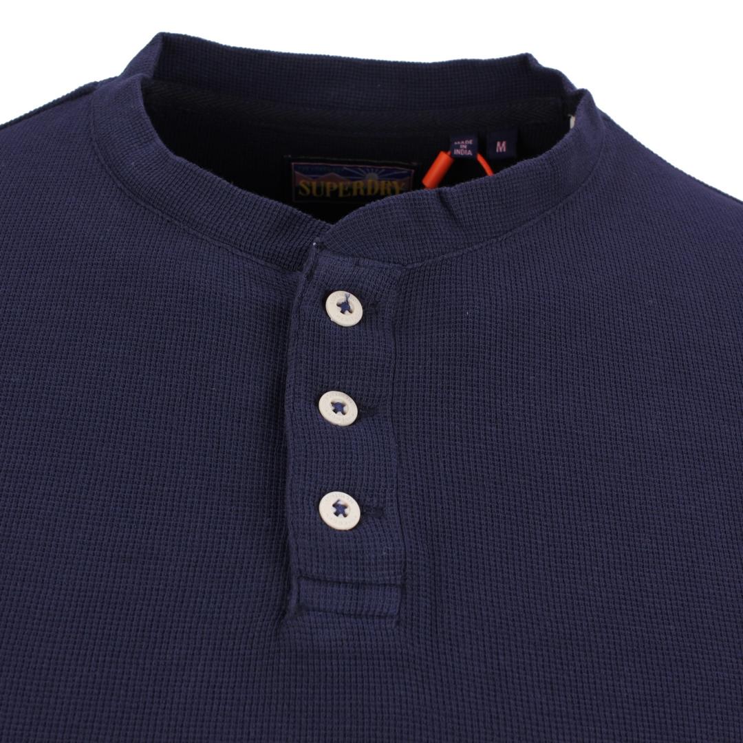 Superdry langarm Shirt LS Waffle Grandad Top blau M6010396A 09S Nautical Navy