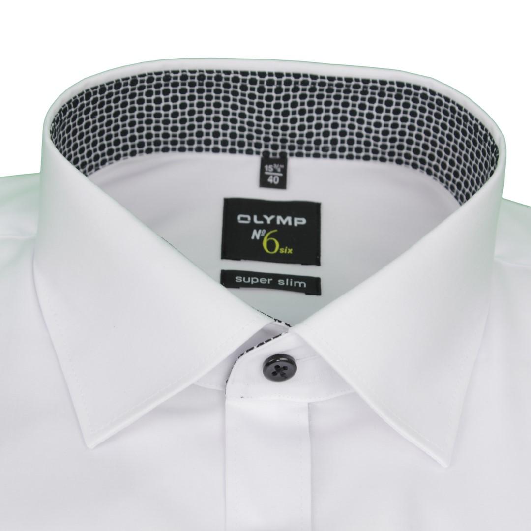 Olymp Herren Super Slim Hemd No. 6 weiß Unifarben 4887 13 00