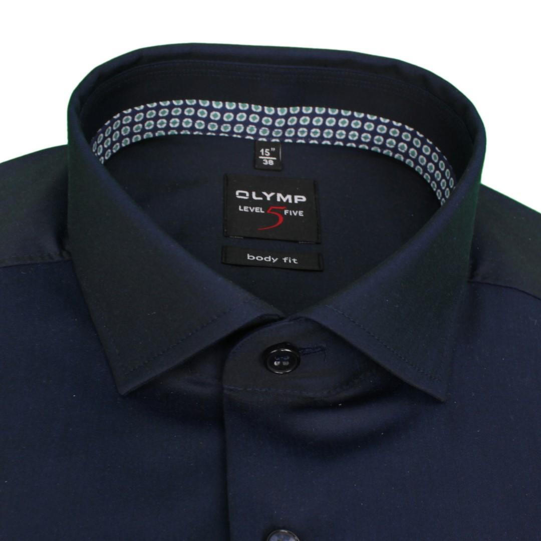 Olymp Herren Body Fit Level 5 Hemd dunkel blau unifarben 204064 18