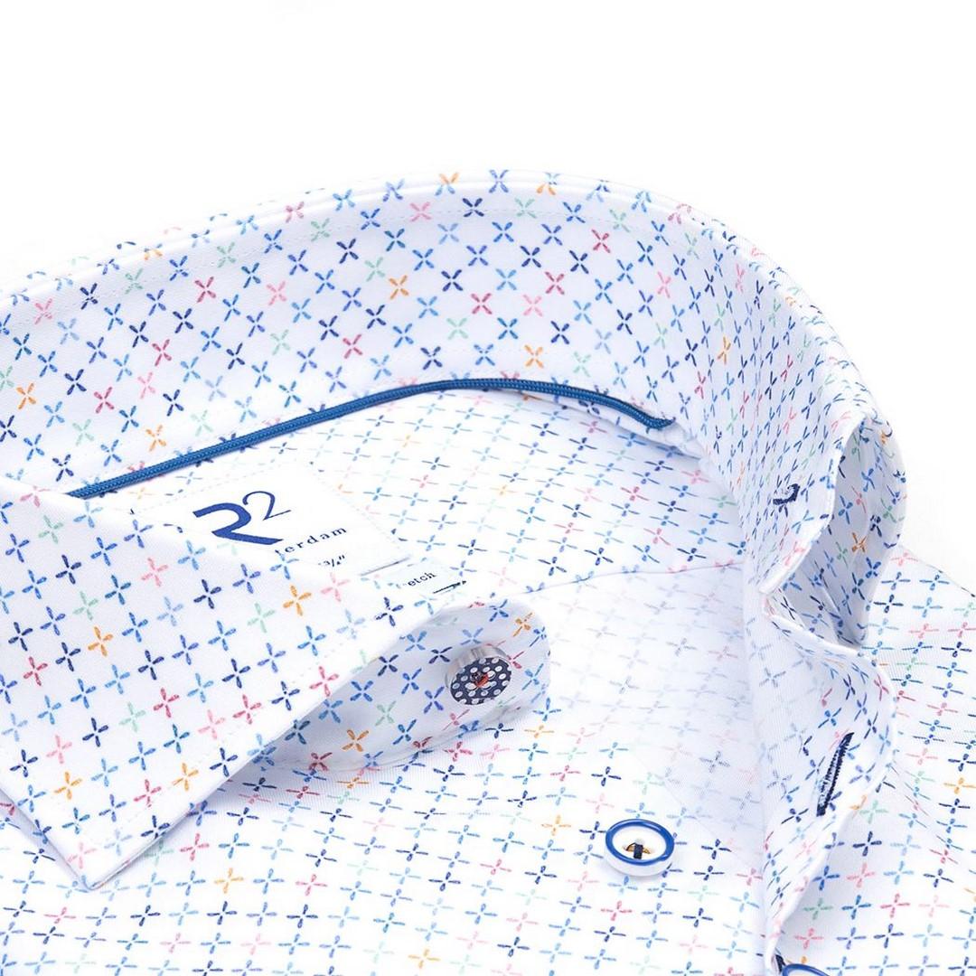 R2 Amsterdam Herren Hemd Widespread weiß gemustert 112.WSP.124 073 weiß mit X