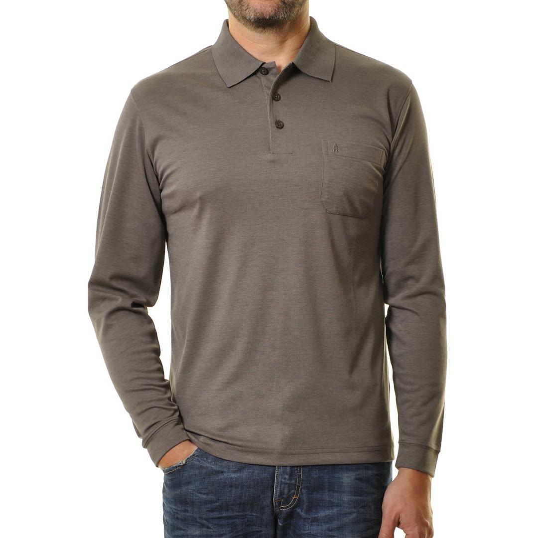 Ragman Herren Polo Shirt Poloshirt Langarm Softknit braun 540291 870 macchiato