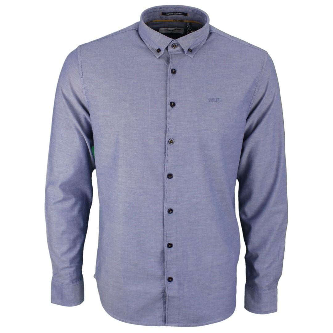No Excess Herren Freizeit Hemd blau strukturiert unifarben 97450867S 078 night