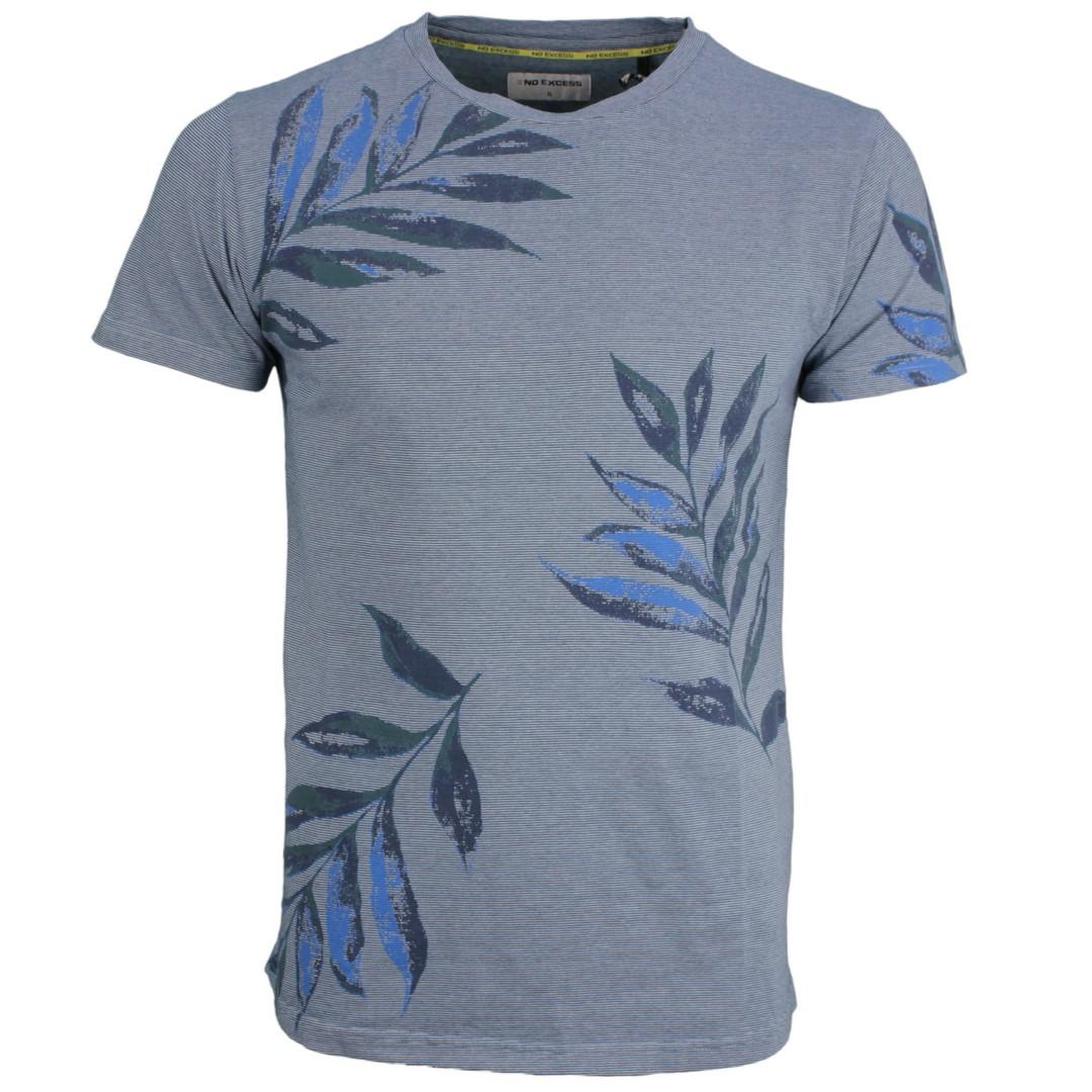 No Excess Herren T-Shirt blau Floral Muster 95350307 123 Steel