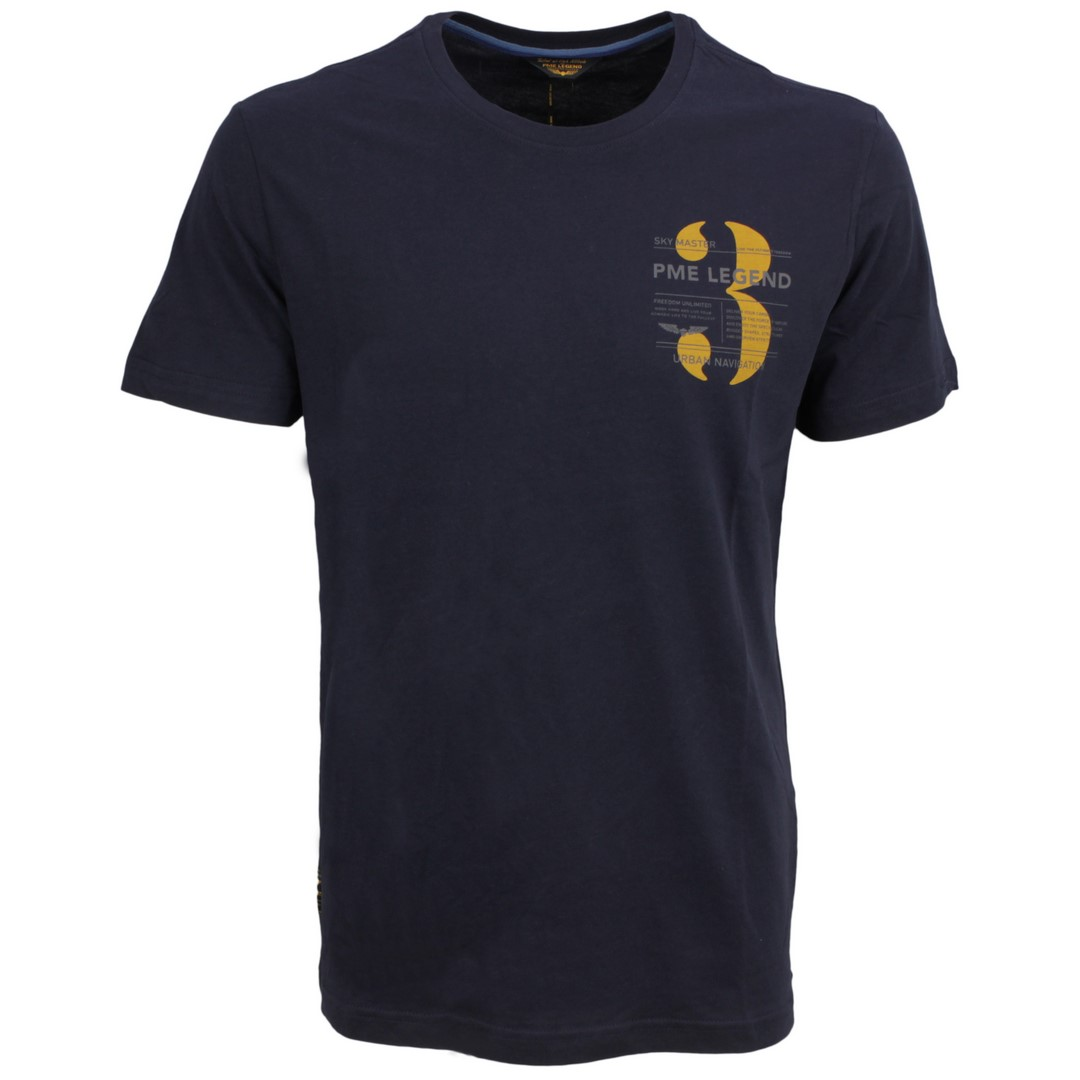 PME Legend Herren T-Shirt dunkel blau Single Jersey PTSS211520 5073