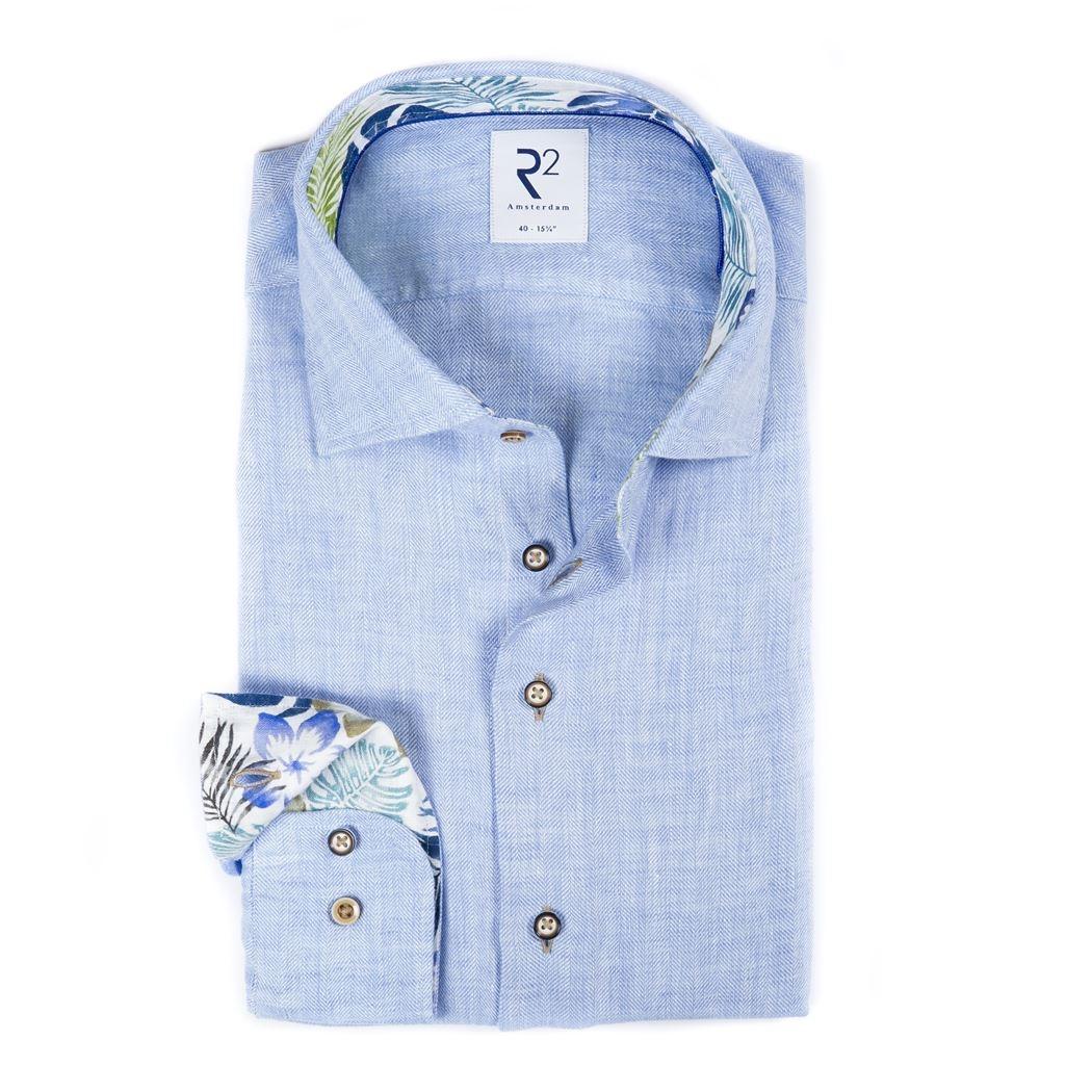 R2 Amsterdam Leinen Hemd blau Fischgrät Muster 112.WSP.015 018 Leinen