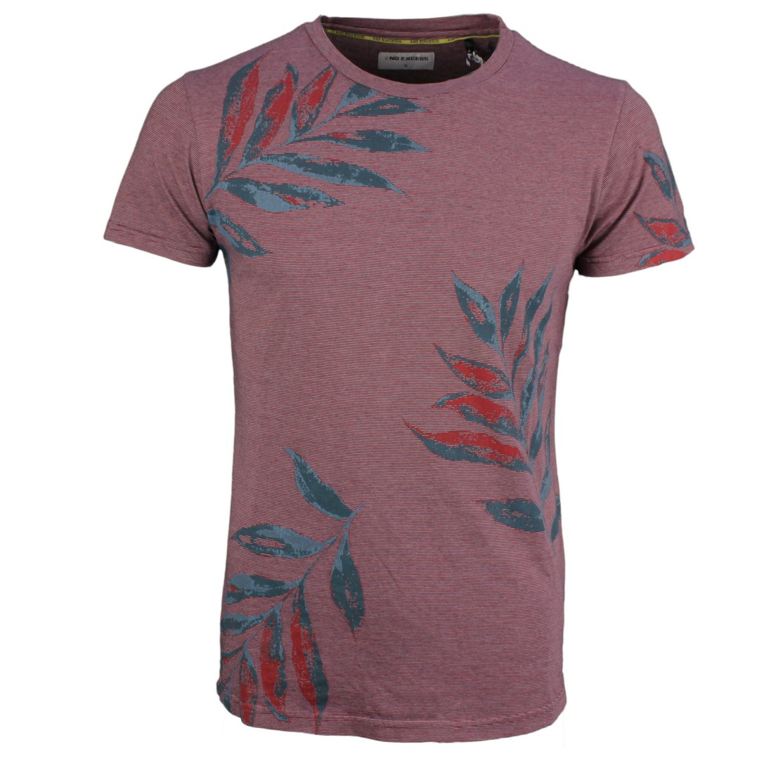 No Excess Herren T-Shirt rot Floral Muster 95350307 162 Cayenne