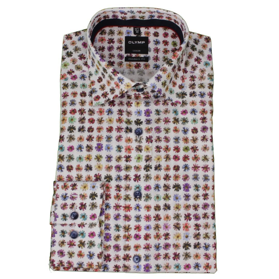 Olymp Herren Luxor Modern Fit Hemd mehrfarbig Blumen Muster 139674 00