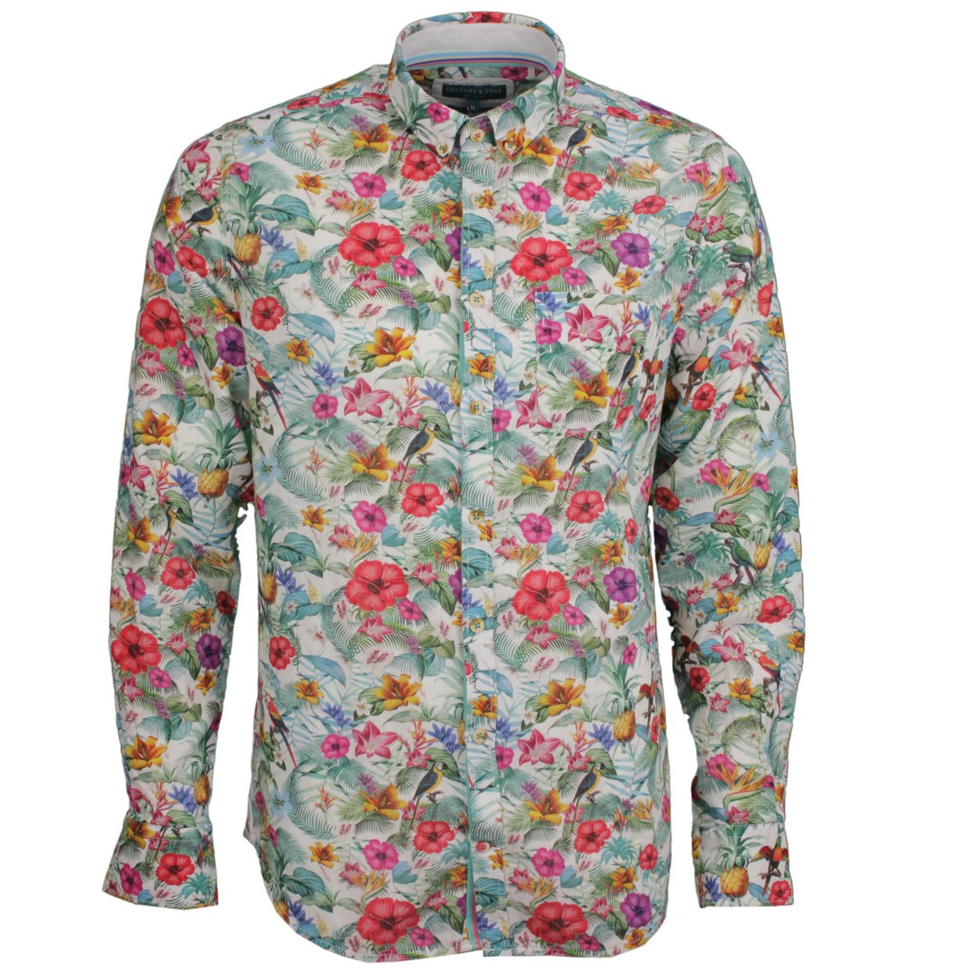 Colours & Sons Herren Freizeit Hemd Dschungel Muster 9121 300 303 Topical