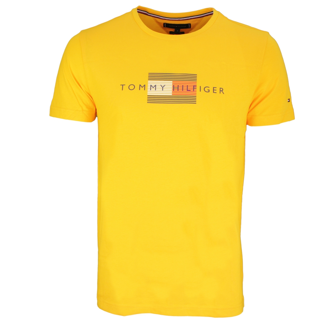 Tommy Hilfiger T-Shirt Shirt kurzarm MW0MW20164 ZER yellow Amber glow Lines Hilfiger Tee