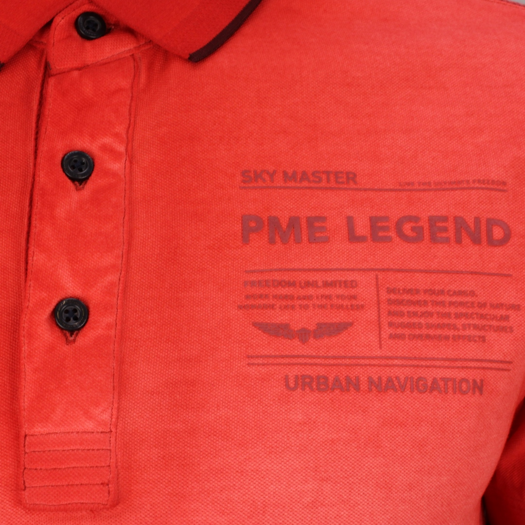 PME Legend Polo Shirt Light Pique Cold Dye rot unifarben PPSS212861 3260