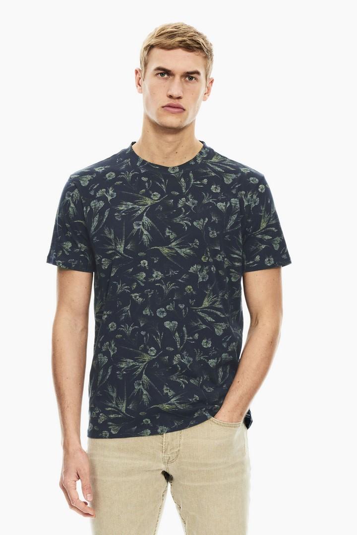 Garcia Herren T-Shirt Shirt kurzarm blau All Over Print C11004 292 dark moon