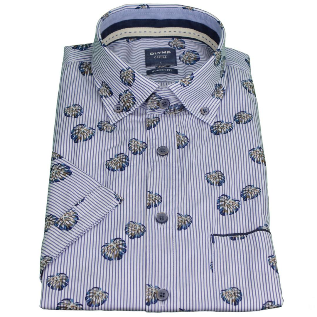 Olymp Herren Casual Freizeit Hemd Halb Arm blau weiß gemustert 4064 52 22