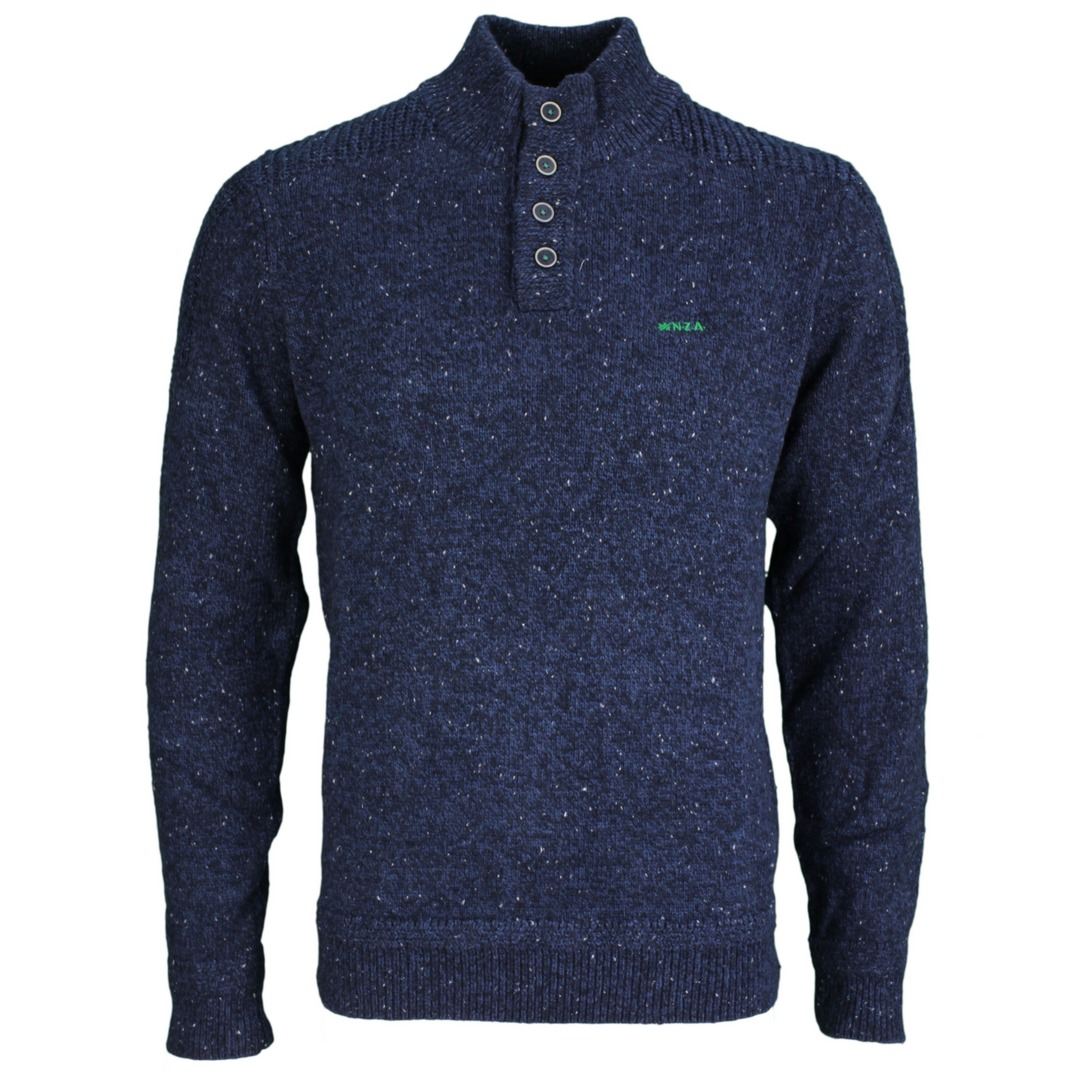 New Zealand Auckland NZA Strick Pullover Troyer blau 21HN452 1631 Smooth Blue