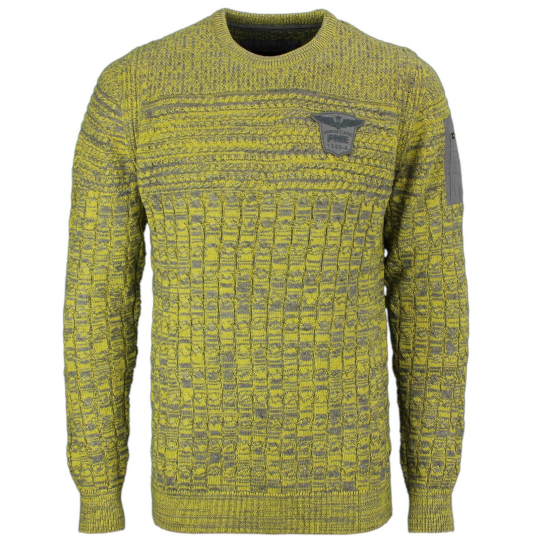PME Legend Herren Strick Pullover gelb Zopf Muster PKW207304 6312