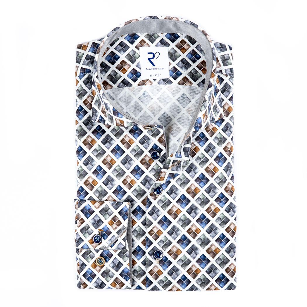 R2 Amsterdam Herren Business Hemd mehrfarbig gemustert 110.WSP.039 14 multi