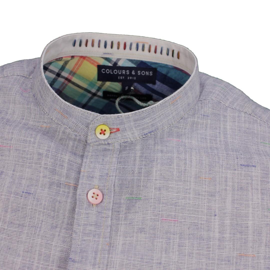 Colours & Sons Herren Freizeit Hemd blau gemustert 9121 230 237 Midnight Neps