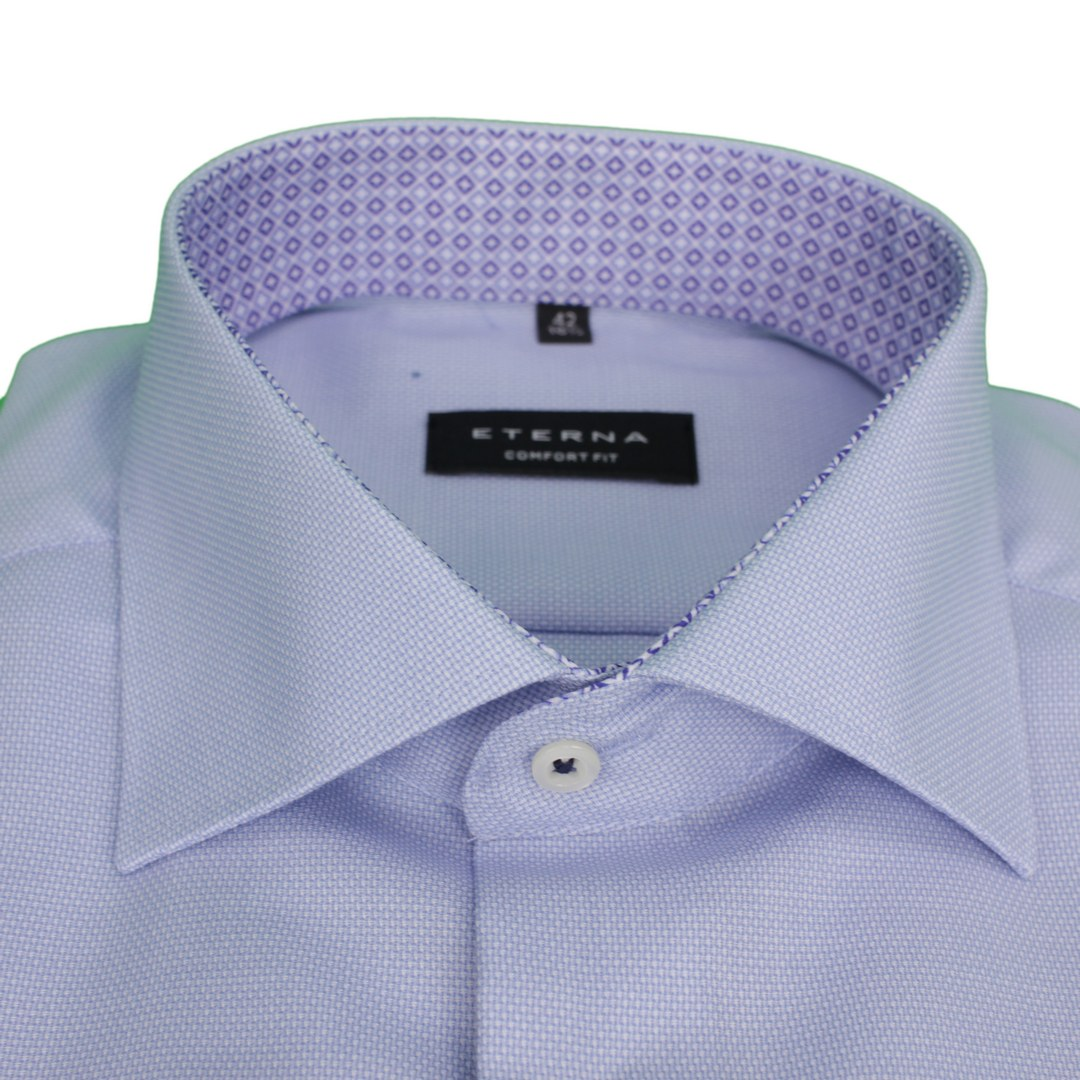 Eterna Business Hemd Comfort Fit Langarm blau unifarben 3270 E15K 12 mittelblau
